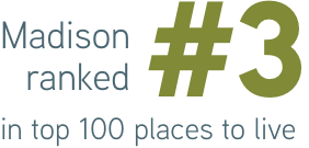 Madison ranked #3 in top 100 places to live